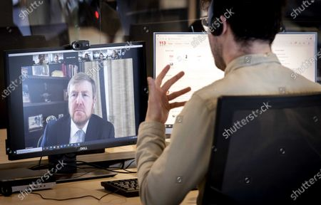 King Willem-Alexander on a virtual working visit to Suicide Prevention helpline, Amsterdam