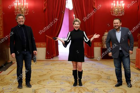 Stock Image of (From left) German tenor Jonas Kaufmann, US mezzosoprano Joyce DiDonato and Mexican tenor Javier Camarena pose for the photographers during the presentation of Opera Stars Festival at the Royal Opera House, in Madrid, Spain, 14 January 2021. The festival runs until 15 January 2021.