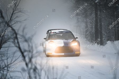 Mercedes' Finnish Formula One driver Valtteri Bottas steers his Citroen DS3 WRC assisted by co-driver Timo Rautiainen during the shakedown of the Arctic Lapland Rally in Rovaniemi, Finland, on January 14, 2021.