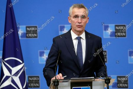 North Atlantic Treaty Organization (NATO) Secretary General Jens Stoltenberg attends a press briefing after a meeting with President of Mauritania Mohamed Ould Cheikh El Ghazouani at Alliance headquarters in Brussels, Belgium, 14 January 2021.
