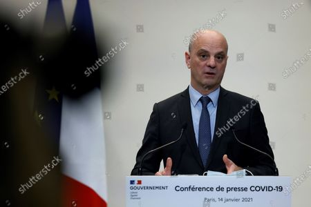 French Education, Youth and Sports Minister Jean-Michel Blanquer speaks during a press conference in Paris, France 14 January 2021, on the current French government's strategy for the ongoing coronavirus (COVID-19) pandemic.