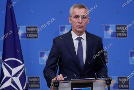 Stock Photo of Secretary General Jens Stoltenberg speaks during a joint press conference with Mauritania's President Mohamed Ould El-Ghzaouani at the NATO headquarters in Brussels, . The head of the NATO Jens Stoltenberg said Thursday that all those responsible for last week's deadly siege at the U.S. Capitol should be held accountable
