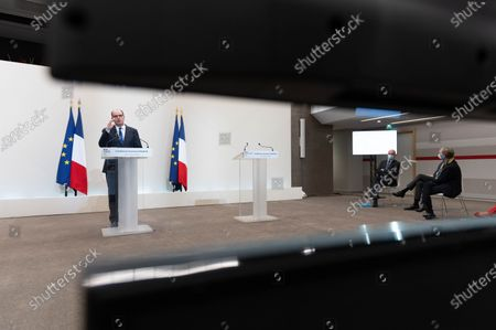Jean Castex, French Education, Youth and Sports Minister Jean-Michel Blanquer, French Economy Minister Bruno Le Maire, French Labour Minister Elisabeth Borne.  French Prime Minister Jean Castex addresses a press conference on the current French government strategy for the ongoing coronavirus (Covid-19) epidemic.