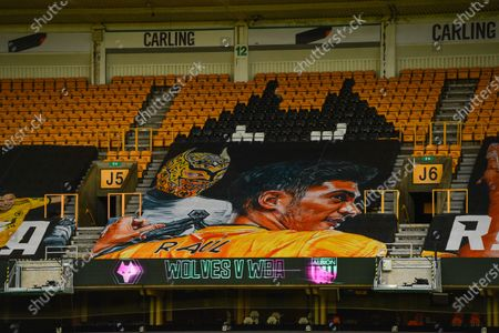 Raul Jimenez of Wolverhampton Wanderers banner in the stand.