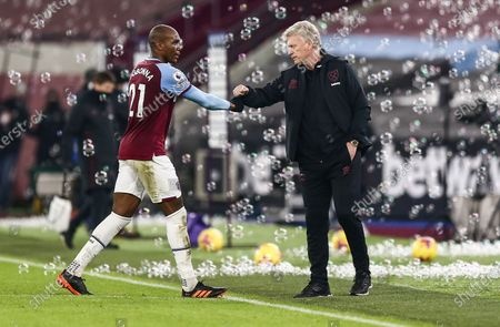 David Moyes West Ham United Manager fist-pumps Angelo Ogbonna of West Ham United at full-time