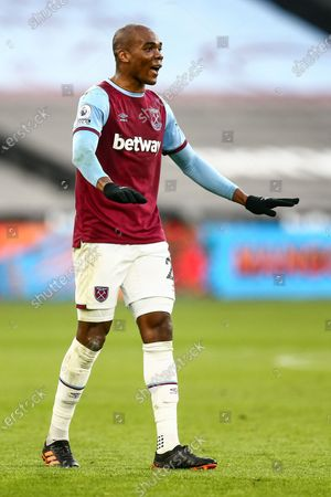 Angelo Ogbonna of West Ham United signals to his players