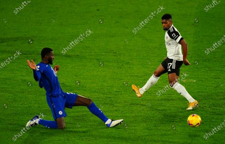 A timely interception from Antonio Rudiger of Chelsea as Ivan Cavaleiro of Fulham shapes to shoot
