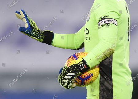 The personalised gloves of Goal Keeper Kasper Schmeichel of Leicester City.