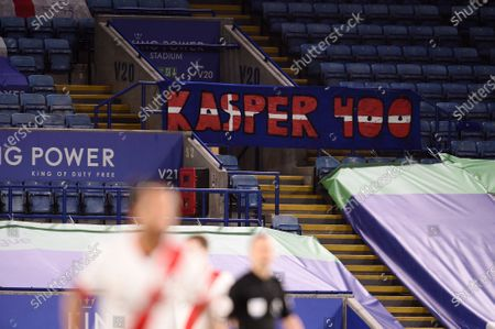 A banner in the stands reads Kasper 400 for Goal Keeper Kasper Schmeichel of Leicester City who made his 400th appearance for the club.