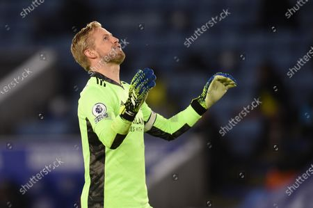 Stock Photo of Goal Keeper Kasper Schmeichel of Leicester City.