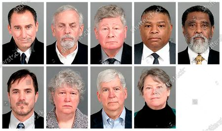 This combo of images provided by the Genesee County, Mich., Sheriff's Office, shows the nine former state-appointed and local officials charged, in connection with the Flint, Mich., water crisis. Top row from left: Jarrod Agen, former chief of staff to Gov. Snyder; Gerald Ambrose, former state-appointed emergency manager; Richard Baird, former Michigan Transformation manager; Howard Croft, former Flint Director of Public Works; Darnell Earley, former state-appointed emergency manager. Bottom row from left: Nicolas Lyon, former Health and Human Services Director; Nancy Peeler, former early childhood health section manager in the Michigan Department of Health and Human Services; former Michigan Gov. Rick Snyder; and Eden Wells, former Michigan Chief Medical Officer