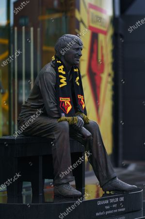 The Graham Taylor Memorial Statue covered in rain