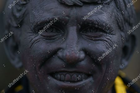 Stock Image of The Graham Taylor Memorial Statue covered in rain