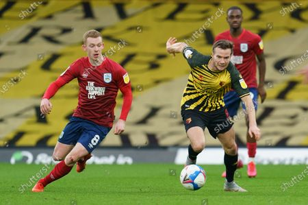 Stock Photo of Lewis O'Brien of Huddersfield Town (8) and Tom Cleverley of Watford (8)