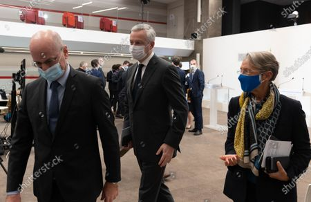 French Education, Youth and Sports Minister Jean-Michel Blanquer, French Economy Minister Bruno Le Maire and French Labour Minister Elisabeth Borne.