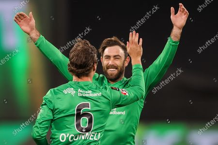 Glenn Maxwell of the Melbourne Stars celebrates with Tom O'Connell of the Melbourne Stars during the Melbourne Stars vs Adelaide Strikers T20 Big Bash league match at Melbourne Cricket Ground, Melbourne