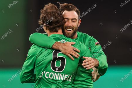 Stock Image of Glenn Maxwell of the Melbourne Stars celebrates with Tom O'Connell of the Melbourne Stars during the Melbourne Stars vs Adelaide Strikers T20 Big Bash league match at Melbourne Cricket Ground, Melbourne
