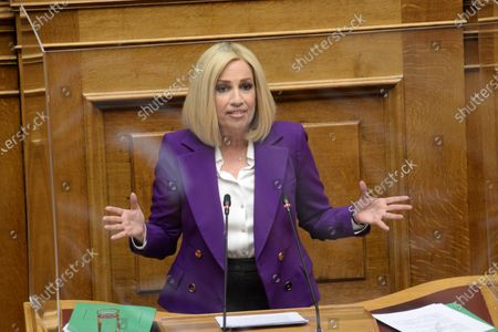 Fofi Gennimata President of 'Movement of Change' in her speech to the Greek parliament to address for the Covid-19 pandemic.