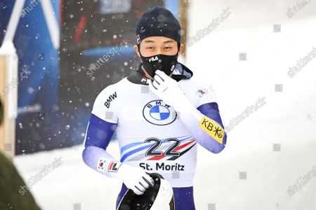 Kim Ji-soo of South Korea reacts after competing in the men's Skeleton World Cup event in St. Moritz, Switzerland, 15 January 2021.