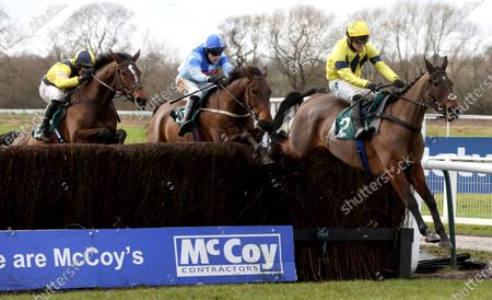 Sky Pirate and Jonjo O'Neill (right) winning The Edward Courage Cup Handicap Chase from Generous Day (blue) and Amoola GoldWarwick 16.1.21Pic Dan Abraham.