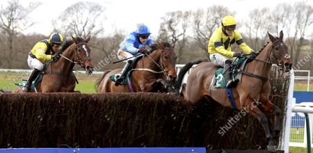 Sky Pirate and Jonjo O'Neill (right) winning The Edward Courage Cup Handicap Chase from Generous Day (blue) and Amoola GoldWarwick 16.1.21Pic Dan Abraham