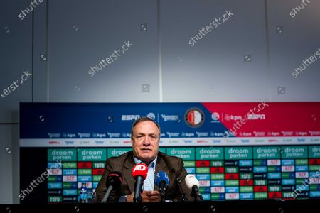 Feyenoord coach Dick Advocaat attends a press conference in Rotterdam, The Netherlands, 15 January 2021. Feyenoord will face Ajax in their Dutch Eredivisie soccer match on 17 January 2021.