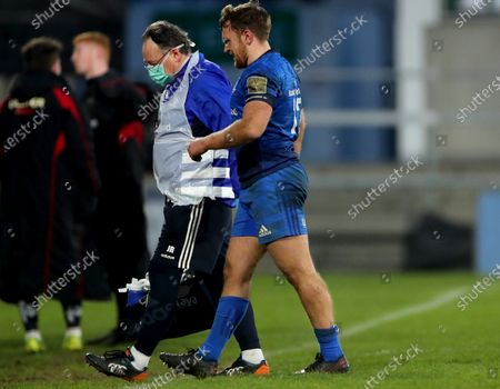 Ulster A vs Leinster A. Leinster's Liam Turner leaves the field injured with Dr. John Ryan