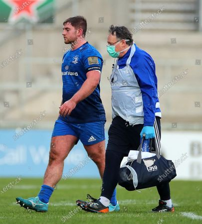 Ulster A vs Leinster A. Leinster's Jack Boyle leaves there field injured with Dr. John Ryan