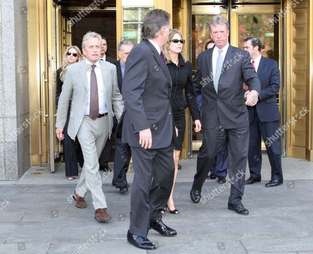 Stock Picture of Michael Douglas and Diandra Douglas leaving the court