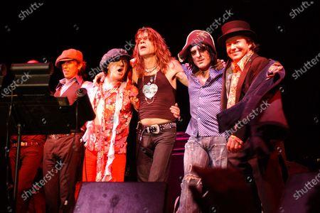 Sami Yaffa, Steve Conte, Sylvain Sylvain, David Johansen, Brian Koonin, Brian Delaney of The New York Dolls perform during Art Basel