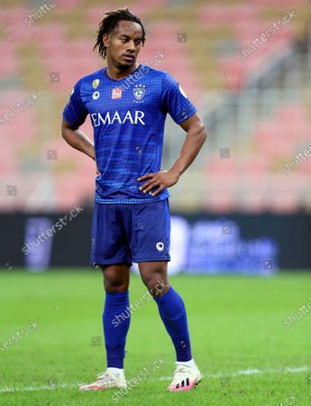 Al-Hilal's player Andre Carrillo in action during the Saudi Professional League soccer match between Al-Ahli and Al-Hilal at King Abdullah Sport City Stadium, 30 kilometers north of Jeddah, Saudi Arabia, 15 January 2021.