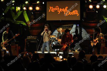 Sami Yaffa, Steve Conte, Sylvain Sylvain, David Johansen, Brian Koonin and Brian Delaney of New York Dolls perform at the Culture Room