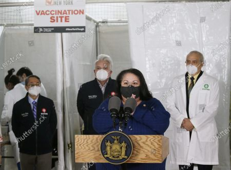 Secretary of State Rossana Rosado and New York State open another New York State vaccination site at Corsi Houses in East Harlem in New York City on Friday, January 15, 2021.