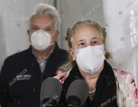 Stock Photo of Manhattan Borough President Gale Brewer speaks when Secretary of State Rossana Rosado and New York State open another New York State vaccination site at Corsi Houses in East Harlem in New York City on Friday, January 15, 2021.