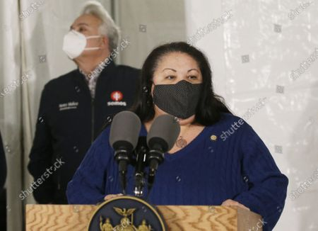 Stock Image of Secretary of State Rossana Rosado and New York State open another New York State vaccination site at Corsi Houses in East Harlem in New York City on Friday, January 15, 2021.