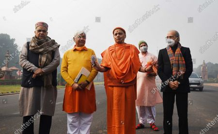 A delegation comprising Vishva Hindu Parishad's international working president Alok Kumar, treasurer of the Ram Janmabhoomi Teerath Kshetra Trust Govind Dev Giri and others speak to the media after meeting President Ram Nath Kovind over his contribution for the construction of Ayodhya Ram temple,   on January 15, 2021 in New Delhi, India. President Ramnath Kovind Friday made the first contribution towards the construction of the Ram temple in Ayodhya by donating a sum of Rs 5,01,000, news agency ANI reported. The President made the contribution to the Ram Janmabhoomi Teerath Kshetra Trust, set up by the government to look after the construction and management of the temple.
