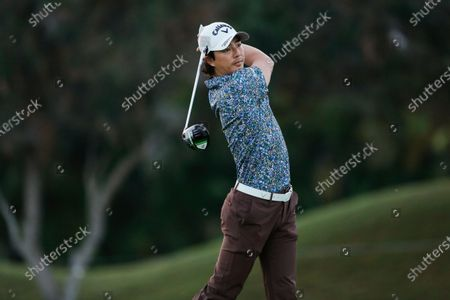 Ryo Ishikawa, of Japan, hits from the first tee box during the second round of the Sony Open golf tournament, at Waialae Country Club in Honolulu