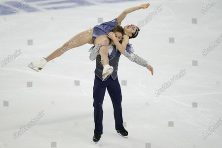 Caroline Green and Michael Parsons perform during the rhythm dance program at the U.S. Figure Skating Championships, in Las Vegas