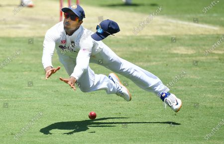 Mayank Agarwal of India misses a catch off the batting of Mitchell Starc of Australia during day two of the fourth Test Match between Australia and India at the Gabba in Brisbane, Australia, 16 January 2021.