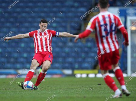 Stock Picture of Ryan Shawcross of Stoke City passes the ball long upfield; Ewood Park, Blackburn, Lancashire, England; English Football League Championship Football, Blackburn Rovers versus Stoke City.