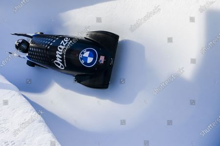 Elana Meyers Taylor of the USA in action during the women's Monobob World Series event in St. Moritz, Switzerland, 16 January 2021.