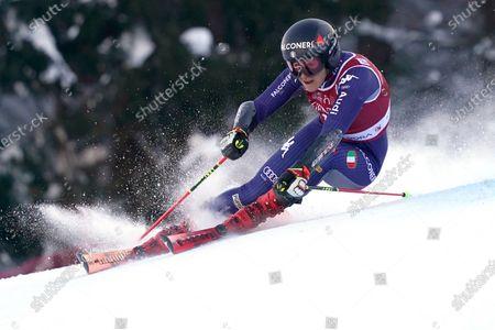 Italy's Sofia Goggia speeds down the course of an alpine ski, women's World Cup giant slalom, in Kranjska Gora, Slovenia