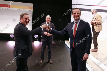 New chairman of the Christian Democratic Union of Germany (CDU) party, Prime Minister of North Rhine-Westphalia Armin Laschet (L) with Jens Spahn (R) and Thomas Strobl during a CDU party virtual party congress in Berlin, Germany, 16 January 2021. The CDU party congress takes place on 15 and 16 January in digital format.
