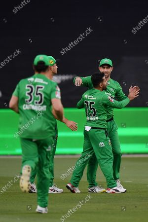 Zahir Khan and Glenn Maxwell of the Stars celebrates the wicket of Jake Fraser-McGurk of the Renegades; Melbourne Cricket Ground, Melbourne, Victoria, Australia; Big Bash League Cricket, Melbourne Stars versus Melbourne Renegades.