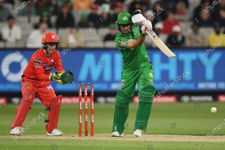 Glenn Maxwell of the Stars drives the ball to the off side; Melbourne Cricket Ground, Melbourne, Victoria, Australia; Big Bash League Cricket, Melbourne Stars versus Melbourne Renegades.