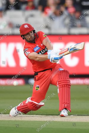 Aaron Finch of the Renegades swings and misses and is bowled out by Glenn Maxwell of the Stars; Melbourne Cricket Ground, Melbourne, Victoria, Australia; Big Bash League Cricket, Melbourne Stars versus Melbourne Renegades.
