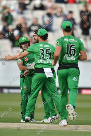 Stars players celebrate the wicket of Aaron Finch of the Renegades; Melbourne Cricket Ground, Melbourne, Victoria, Australia; Big Bash League Cricket, Melbourne Stars versus Melbourne Renegades.