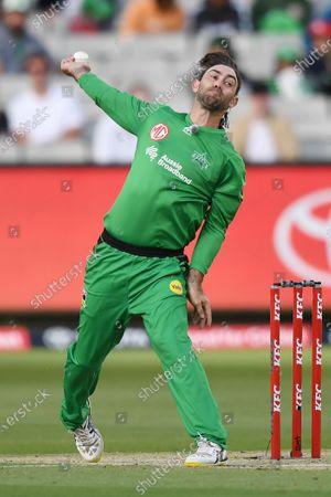 Glenn Maxwell of the Stars bowls; Melbourne Cricket Ground, Melbourne, Victoria, Australia; Big Bash League Cricket, Melbourne Stars versus Melbourne Renegades.