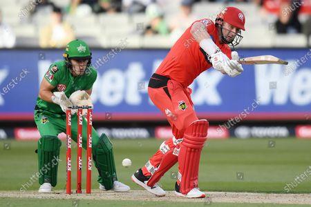 Shaun Marsh of the Renegades knocks the ball to the covers; Melbourne Cricket Ground, Melbourne, Victoria, Australia; Big Bash League Cricket, Melbourne Stars versus Melbourne Renegades.