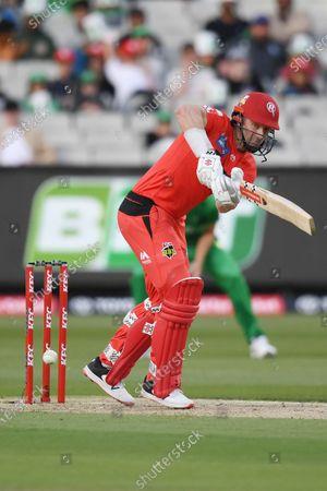 Shaun Marsh of the Renegades hits the ball down the leg side for runs; Melbourne Cricket Ground, Melbourne, Victoria, Australia; Big Bash League Cricket, Melbourne Stars versus Melbourne Renegades.